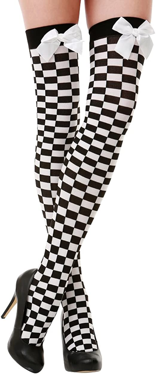 Black /& White Checker Thigh-High Halloween Adult Women/'s Cosplay Costume Tights