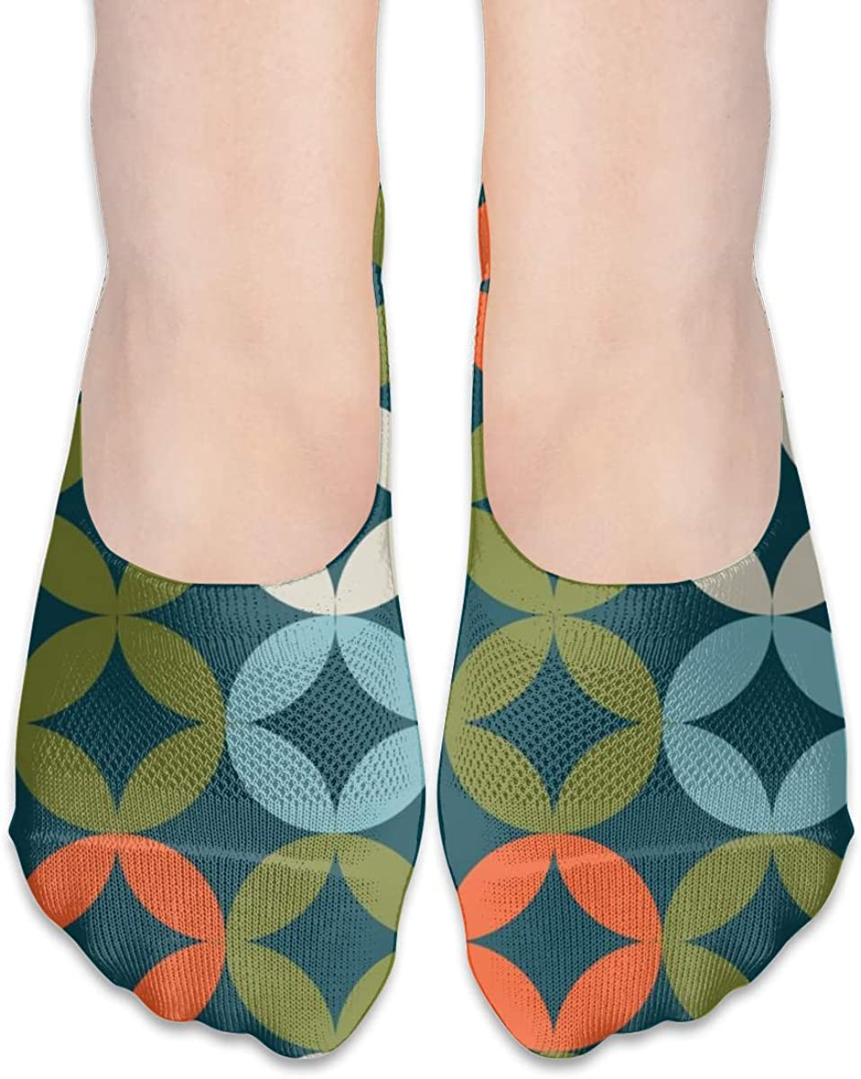Personalized No Show Socks With Mid Century Circle Modern Print For Women Men