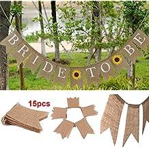 15 Pcs Rustic Burlap Pennant Banner,Burlap Triangle Banner DIY Wedding Decoration for Wedding Birthday Kids Party
