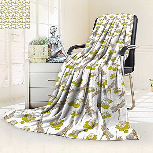 high-quality Warm Microfiber All Season Blanket River Side Loddon Lilies Leaves with Like Wings Print Artwork Image,Multicolor