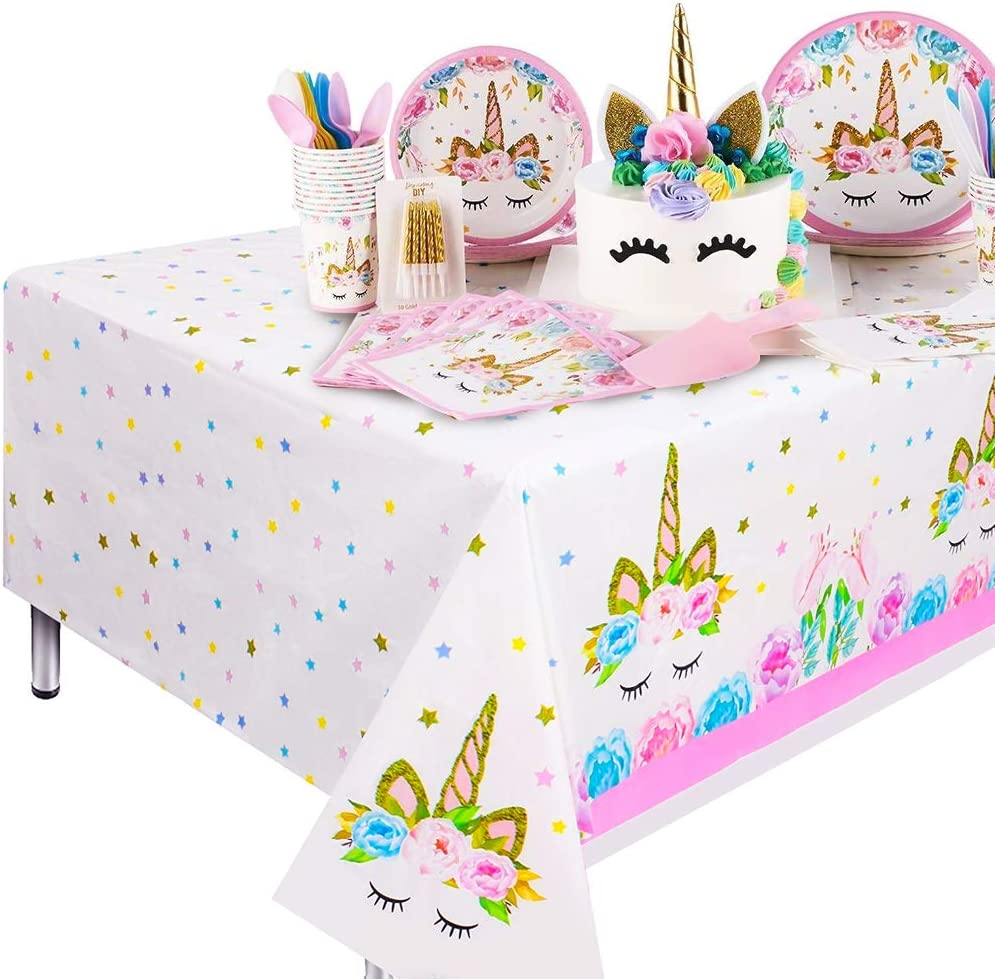 Qoosea Disposable Plastic Table Cover Birthday Party Tableware Decoration Supplies Kitchen Outdoor Picnic Tablecloth-110cmx180cm 1 Pack