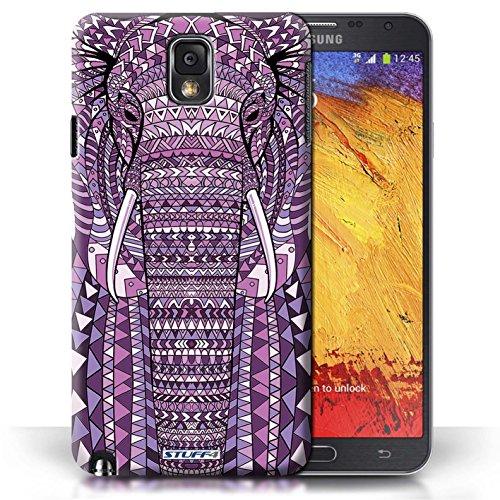 Etui / Coque pour Samsung Galaxy Note 3 / éléphant-Pourpre conception / Collection de Motif Animaux Aztec