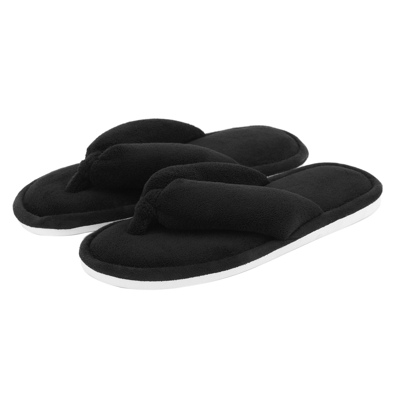 Indoor Slippers for Women Open Toe, Soft Cute Non Slip House Slippers (M- US Women Size 7-8, Black)