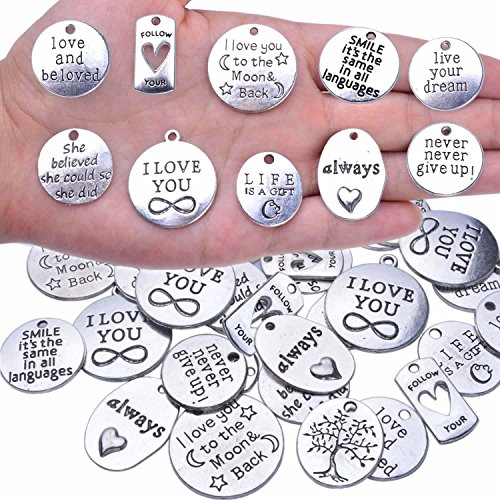 BronaGrand 40pcs Inspiration Words Charms Craft Supplies Beads Charms Pendants for Crafting, Jewelry Findings Making Accessory for DIY Necklace Bracelet
