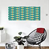 Liguo88 Custom canvas Arabian Decor Collection Arabic Oriental Geometric Shapes Lines with Pastel Middle East Artisitc Persian Bedroom Living Room Wall Hanging Teal Yellow Brown