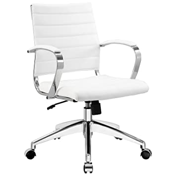 executive office chair brown leather berlin review desk chairs fabric jive ribbed mid back with arms in white