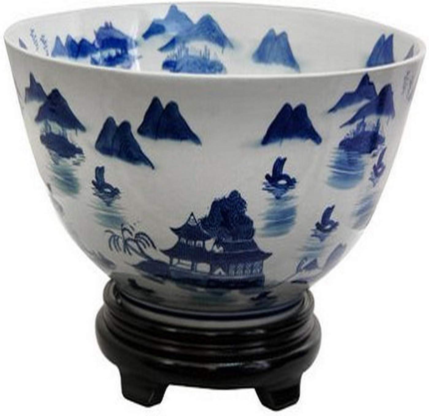 "Oriental Furniture 14"" Landscape Blue & White Porcelain Bowl"