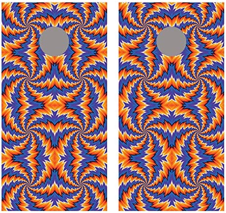 Let 's印刷Big Spiral IllusionブルーとオレンジCornholeボードデカールラップ ラミネート