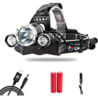 MakeTheOne Head Torch Headlamp Light 5000lm 3 * XM-L T6 LED Headlamp Waterproof Powerful Bright + Rechargeable USB + Car Chrger + 2 * 18650 Battery- Can Be Charged in Car - for Camping Fishing Cycling Running Walking (AU Stock)