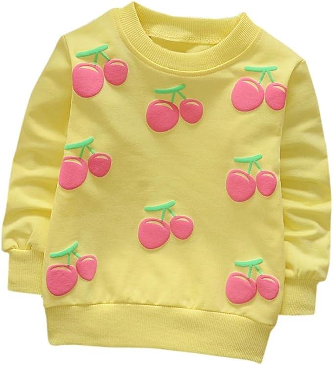 Bebé manga larga camiseta tops en franela bordada, Yannerr niña primavera Dibujos animados Cherry estampado blusa suéter chaqueta sudadera camisa mono vestido traje ropa partes de arriba: Amazon.es: Ropa y accesorios