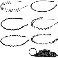 MELLIEX 6 Stks Spring Wave Hoofdband, Zwart Elastische Haar Hoop Unisex Metalen Haarband Golvende Kam Haarbanden…