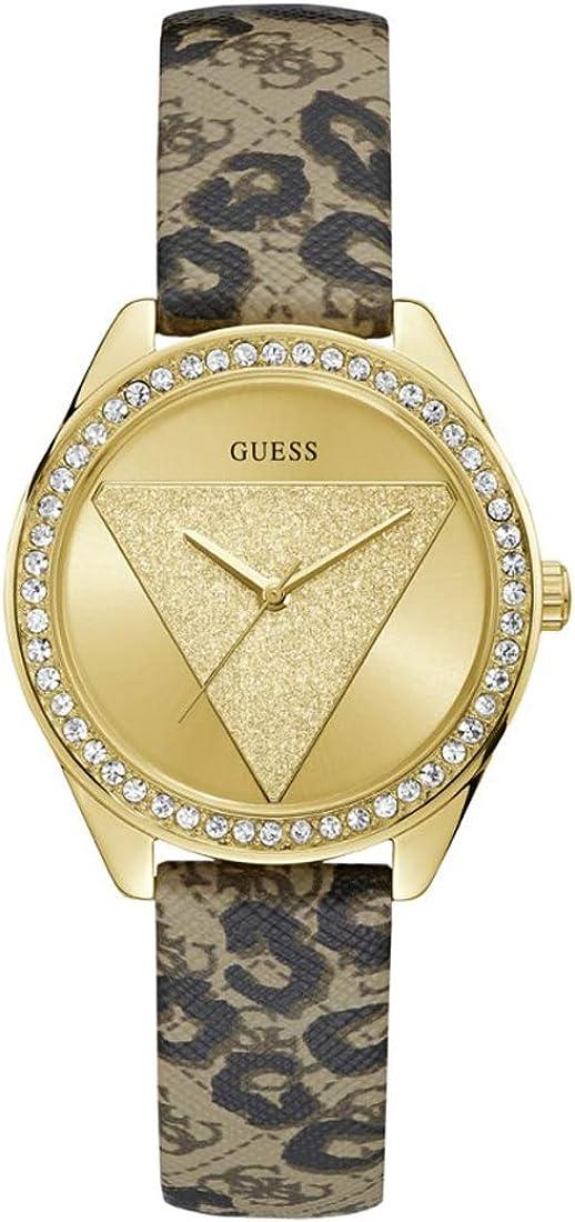 Guess Tri Glitz Quartz Crystal Gold Dial Ladies Watch W0884L9