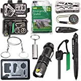 Survival Kit EMDMAK Outdoor Emergency Gear Kit with Emergency Survival Tent for Camping Hiking Travelling or Adventures (Pack of 11 pieces)