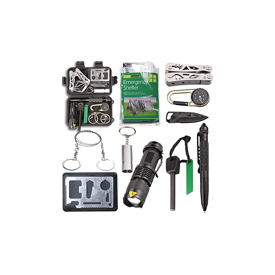 EMDMAK Survival Kit Outdoor Emergency Gear Kit with Emergency Survival Tent for Camping Hiking Travelling or Adventures