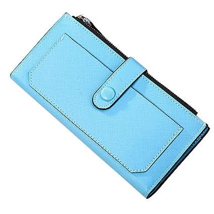 Monedero Larga Cartera de Grandes Piel de Moda Azul para Mujer X