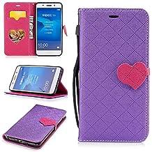 Huawei Y6 II (2016) Case, XinSop Love Magnetic Closure Premium PU Leather Cute Flip Stand Phone Protection Cover Card Slots Shockproof Wallet Case for Huawei Y6 II (2016) - Purple