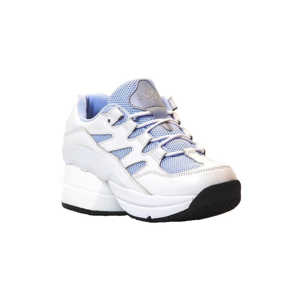 Z-CoiL Pain Relief Footwear Women's Freedom Slip Resistant Enclosed CoiL Sky Blue Leather Tennis Shoe 10 C/D US
