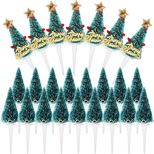 Jovitec Tree Cupcake Toppers Christmas Cake Picks Table Centerpieces Sticks for Christmas Winter Forest Theme Diorama Scenery Birthday Party Favor (72 Pieces)