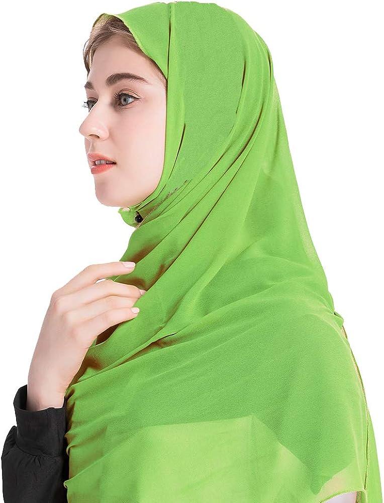 Grsafety2019 Donna Classico Sciarpa Musulmano Hijab Signora Islamico Sciarpa Tinta Unita Chiffon Fazzoletto da collo