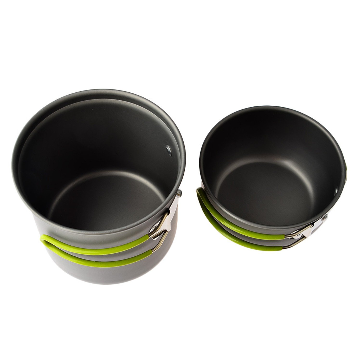 Convenient Outdoor Camping Hiking Backpacking Picnic Cookware Cooking Tool Set Pot Pan + Piezo Ignition Canister Stove travel Cookware