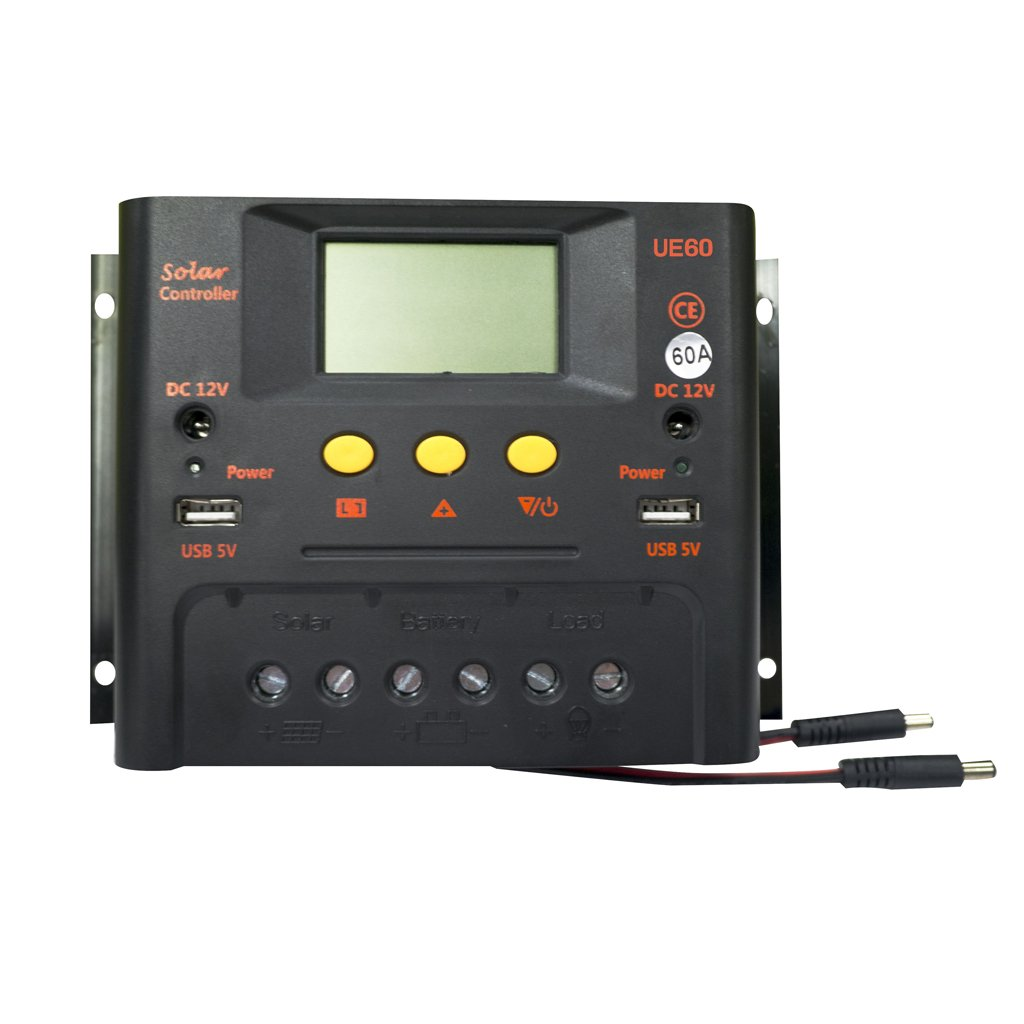 Homyl 40A 50A 60A Intelligent PWM Solar Regulator Charge Controller with LCD Display and Dual USB Ports - 50A, 48V