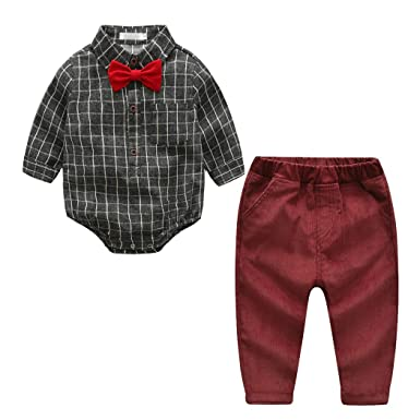 e7e406dc50c ALLAIBB Toddler Boy Gentleman Outfit 2PCs Gray Plaid Romper Shirt Red Corduroy  Pants  Amazon.co.uk  Clothing