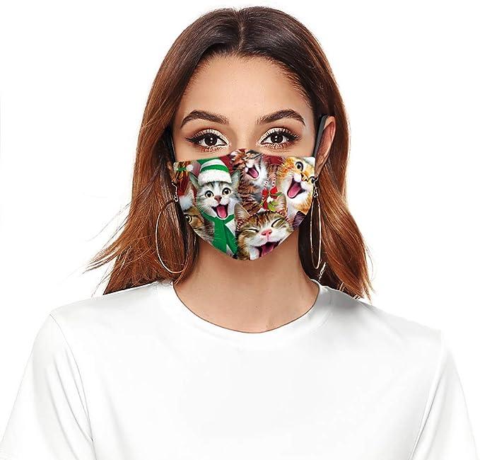 Eboutik Atmungsaktive Stoff Gesichtsmasken Mit Filterschlitz Lustige Weihnachts Designs Wiederverwendbar Waschbar Atmungsaktiv Katzen Carol Auto