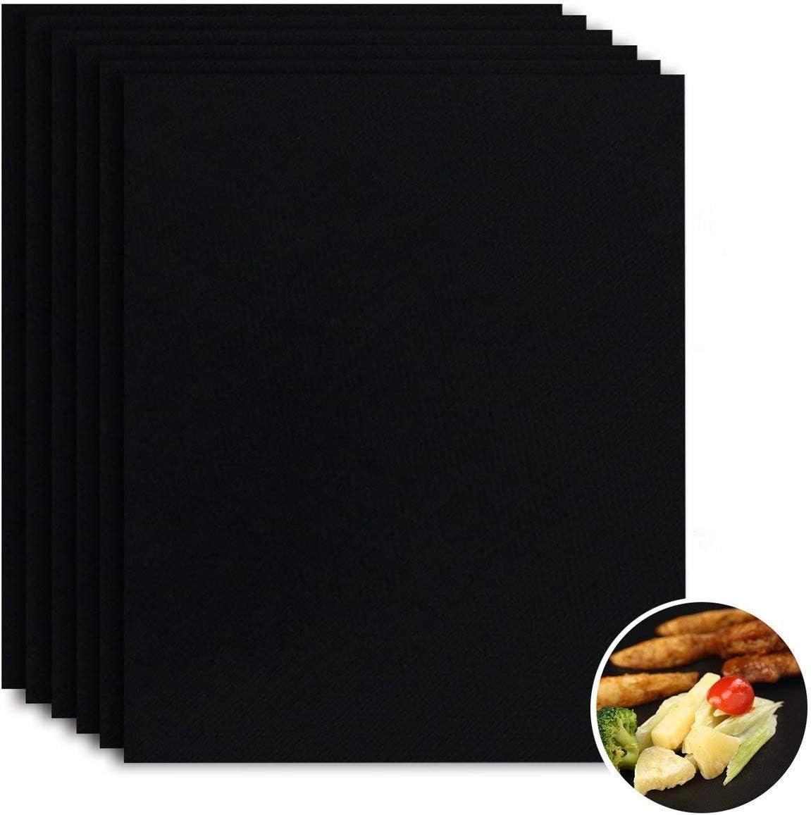 FABSELLER Lot de Tapis de Cuisson réutilisables Anti-adhésifs pour Barbecue - pour Barbecue au gaz et au Charbon électrique 5pcs Black with Tongs & Brush Noir (6 pièces)