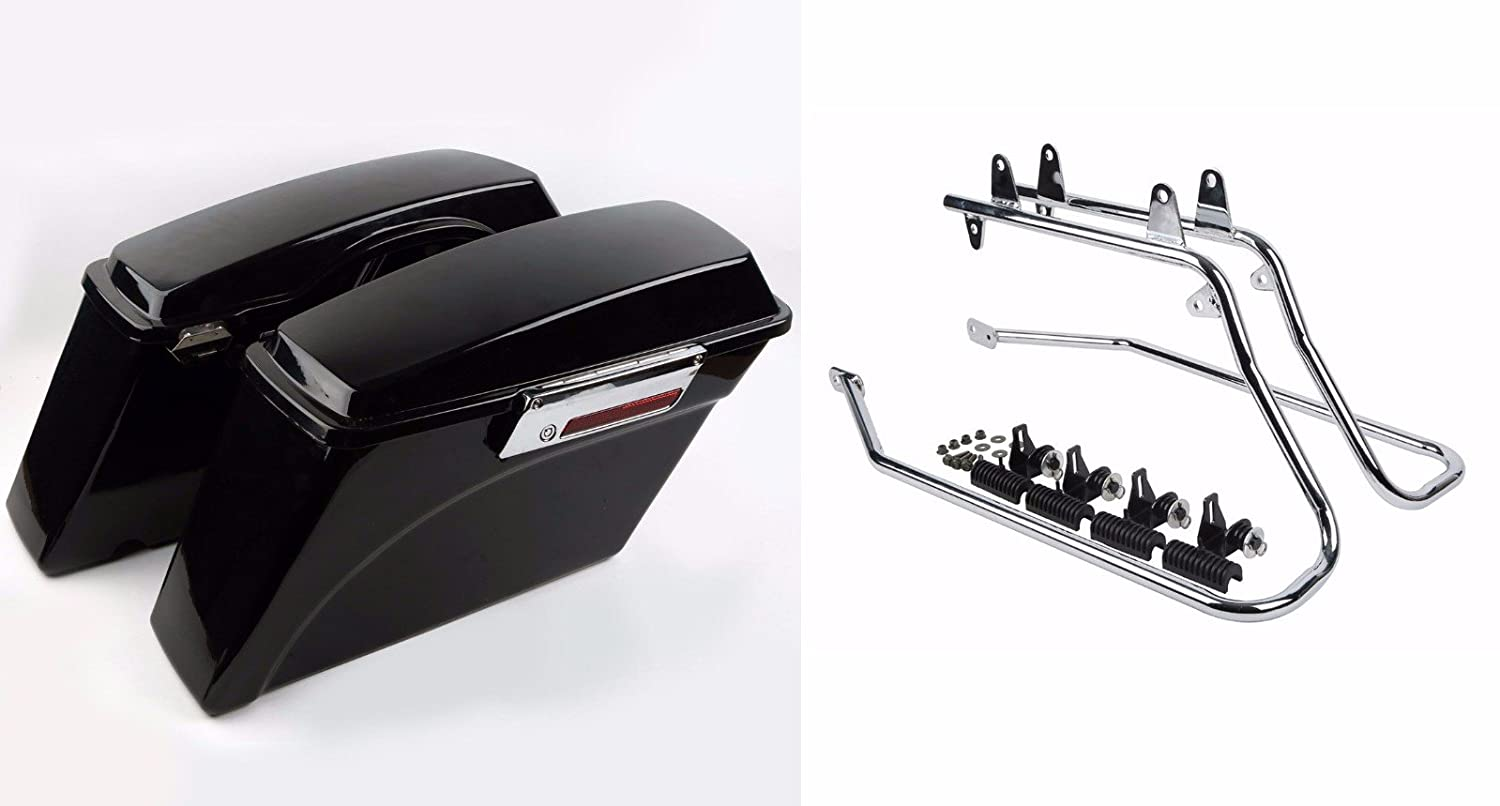 Hard Saddlebags Saddlebag fit For Harley Touring Road King Glide Stf DYNA Black Parts & Accessories