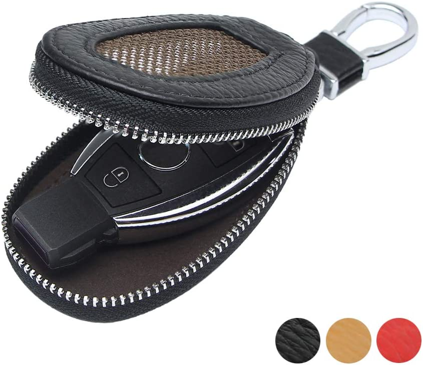 VSLIH Genuine Leather Key Case Car Smart Key Cover Keychain Holder Metal Hook and Keyring Zipper mesh Wallet Auto Remote Key Fob