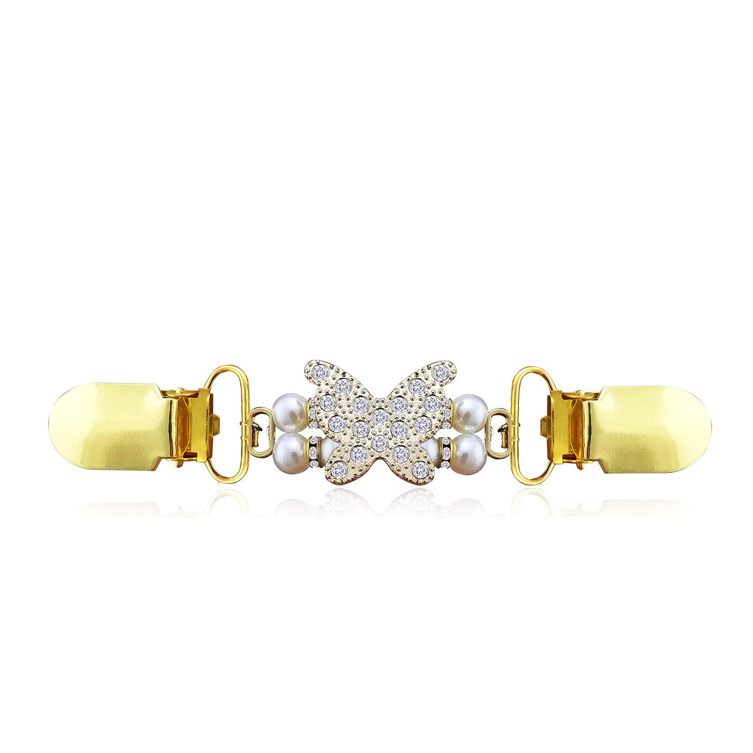 YOQUCOL Golden Butterfly Cardigan Clip CZ Crystal Simulated Pearl Sweater Clip Retro Brooch Shawl Clip