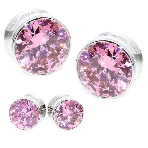 Más tamaños selección luccichio enormes cristal piedra enorme rosa Colour rosa picnic GEMS Stone acero inoxidable de la plata rosca interior dilatadas túnel ...