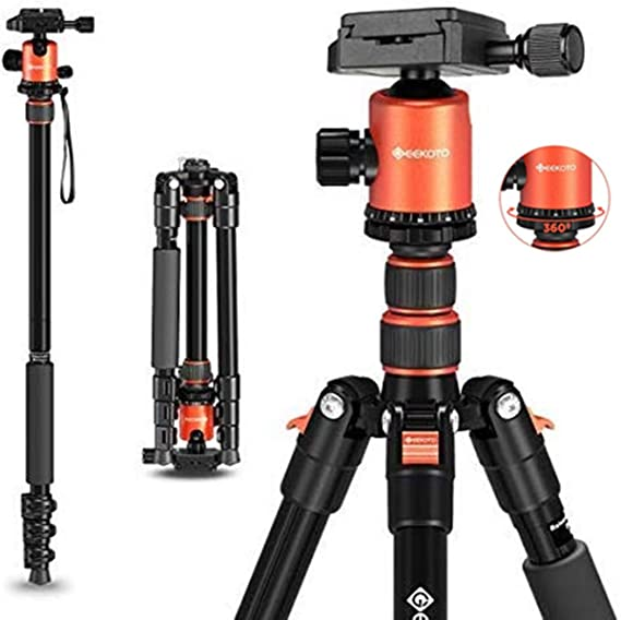 """GEEKOTO 58"""" Ultra Compact Lightweight Aluminum Tripod with 360° Panorama Ball Head for DSLR"""