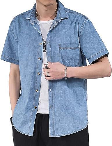 Hombres Verano Camisa, Western Shirt Camisa Casual para Hombre Casual Denim Camisa De Hombre Moda Jean Camisa De Mezclilla con Botón Delgado Camisa De Manga Corta para Hombre con Bolsillos: Amazon.es: Ropa