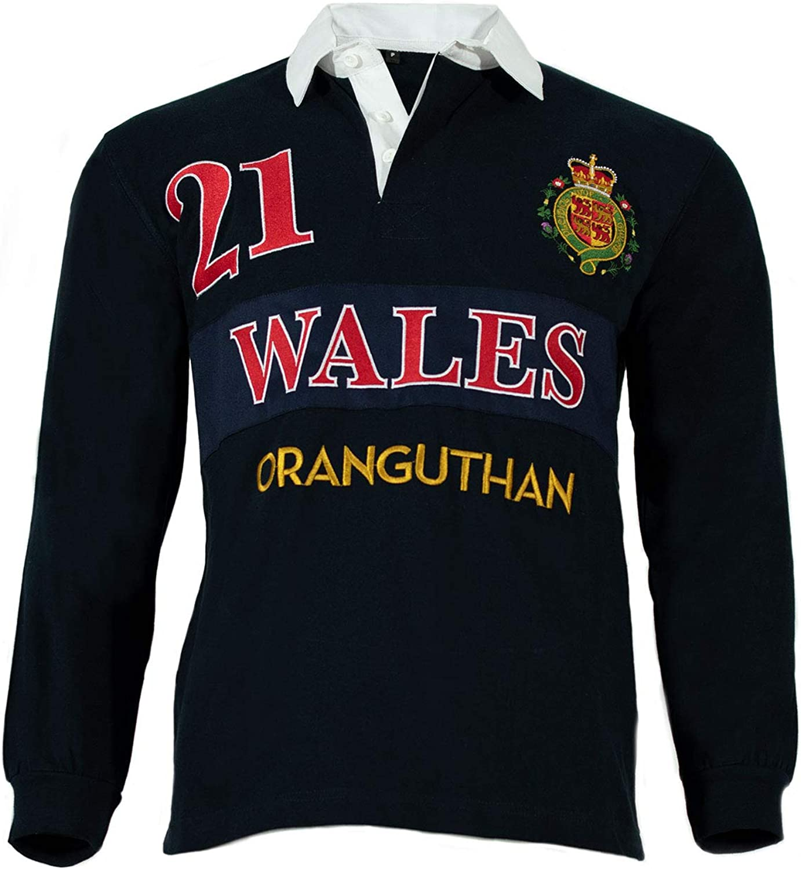 Oranguthan Wales Camiseta Polo Rugby Gales Hombre Manga Larga ...