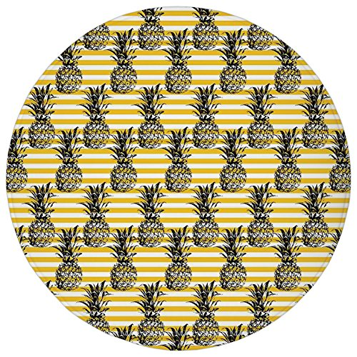 Round Rug Mat Carpet,Pineapple Decor,Pineapple Pattern Shape Background Stripes Textile Plant Coconut Illustration Decorative,,Flannel Microfiber Non-slip Soft Absorbent,for Kitchen Floor Bathroom