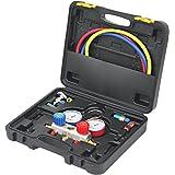 WEIMALL エアコンガスチャージ マニホールドゲージ R134a R410a R404a R32 対応 冷媒 缶切&クイックカプラー付 ガス補充 空調 エアコン修理