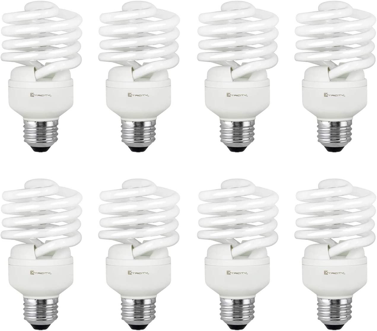 Compact Fluorescent Light Bulb T2 Spiral CFL, 5000k Daylight, 23W (100 Watt Equivalent), 1520 Lumens, E26 Medium Base, 120V, UL Listed (Pack of 8)