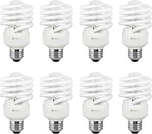 Compact Fluorescent Light Bulb T2 Spiral CFL, 5000k Daylight, 23W (100 Watt Equivalent), 1520 Lumens, E26 Medium Base, 120V, UL Listed (Pack of 8)