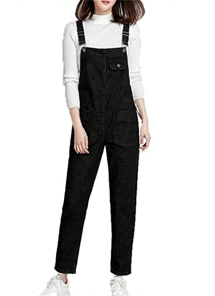 77ce9b629913 QINGFANG Women s Casual Denim Jumpsuit Romper Dungarees with Pockets ...