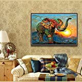 DIY 5D Diamond Painting, Full Round Drill Cross Stitch Set Animal Rhinestone Embroidery for Wall Decoration Home Decor 16X12inch/40X30CM (Elephant)