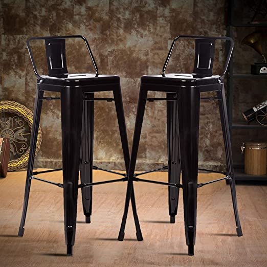 "30/"" Set of 4 Metal Bar Stools Counter Industrial Farmhouse Stackable Chairs"