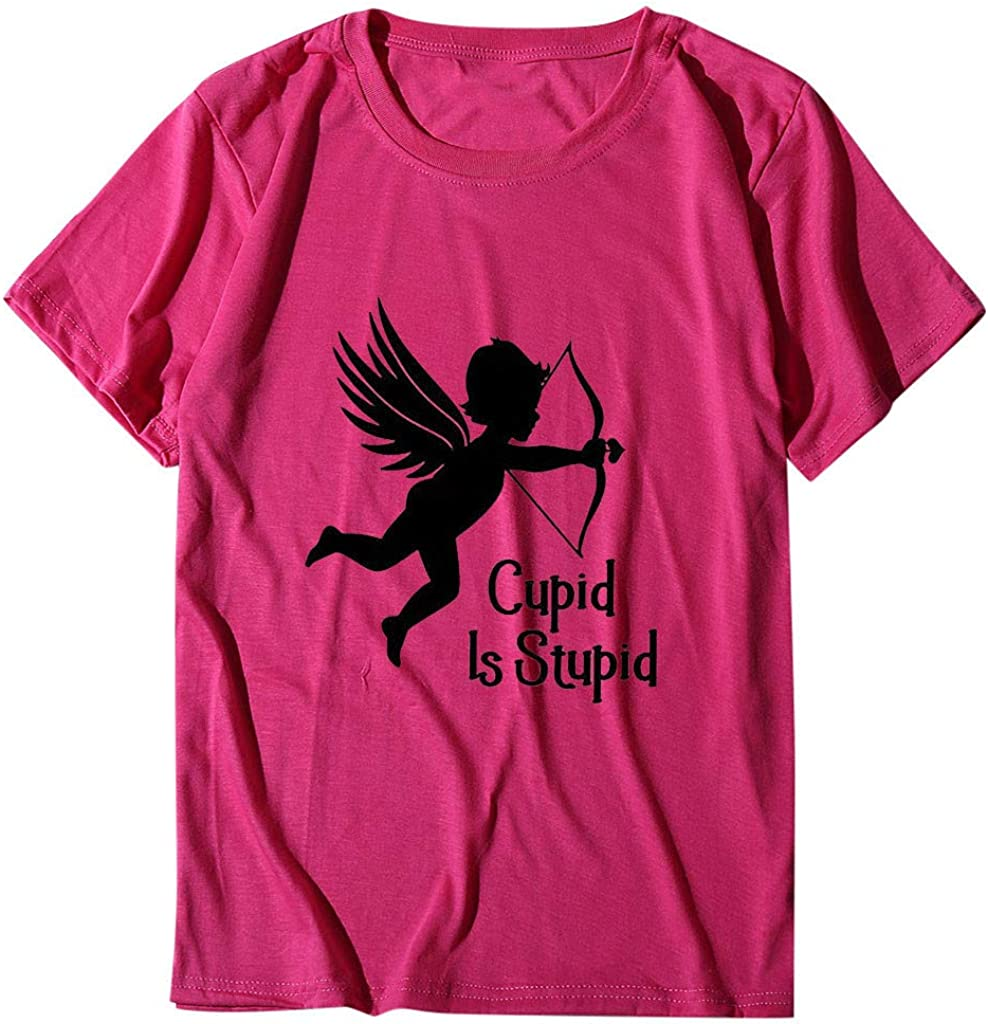 Eoeth Cupid is Stupid Letter Pattern Print T-Shirt,Women Valentines Day O-Neck Short Sleeved Pullover Shirts Tops Blouse