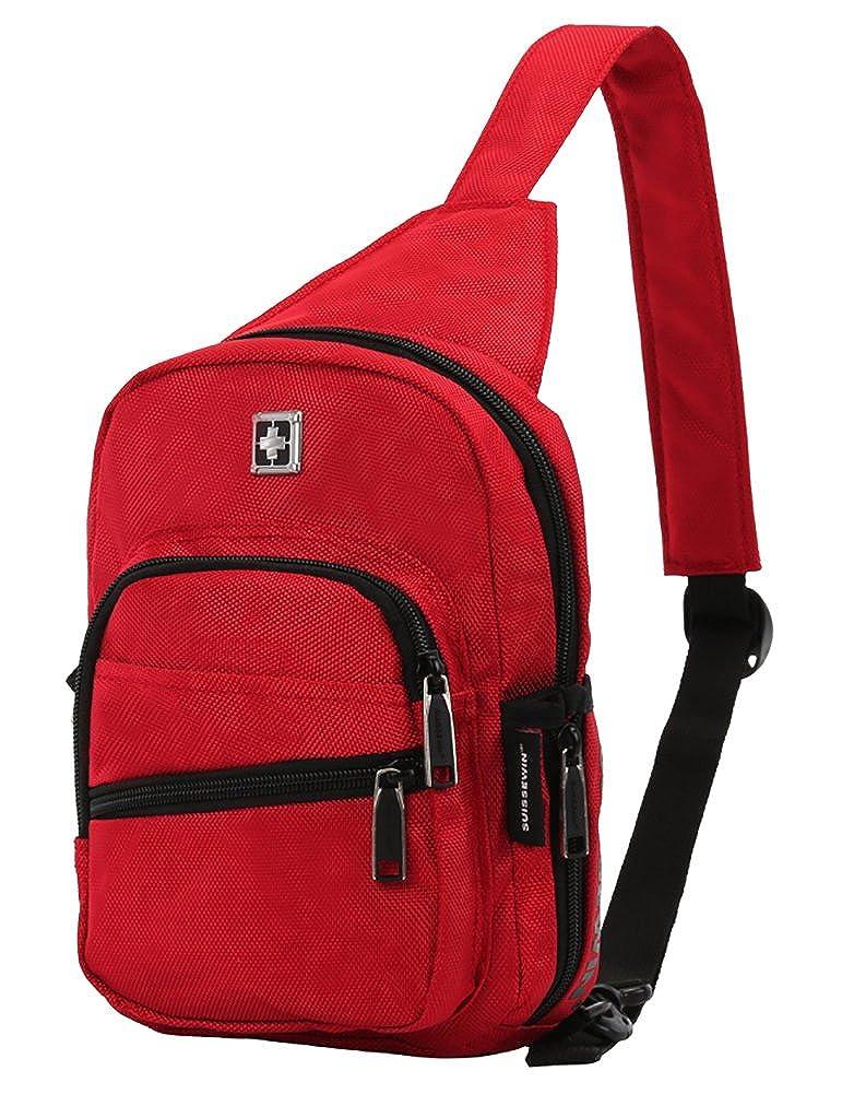 カジュアルメッセンジャーバッグショルダーバッグスリングバックパック旅行用デイパックby voliner B07B94L8Z9 レッド