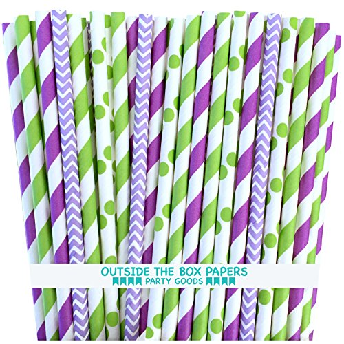 Outside the Box Papers Tinkerbell Theme Chevron,Polka Dot and Stripe Paper Straws 7.75 Inches 100 Pack Lime Green, Purple, Lilac, White -