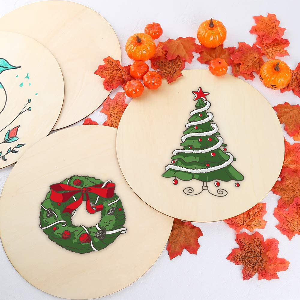 Caydo 3 Pieces 14 Inch Christmas Wooden Circle Door Hanger and Painting Pyrography Unfinished Round Wood Slices for Christmas Decorations