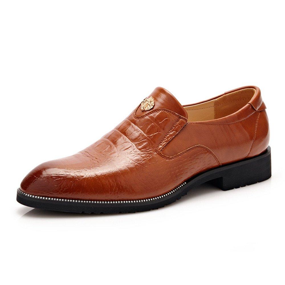 Zapatos de Vestir de los Hombres Zapatos de Cuero de Calidad Superior Cocodrilo Textura Mocasines de Negocios para Caballero para los Hombres 7.5 MUS|Brown