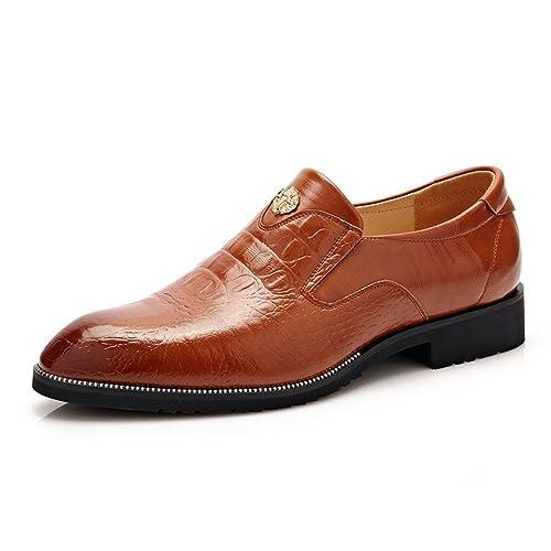 Zapatos de Vestir de los Hombres Zapatos de Cuero de imitación de Piel de cocodrilo Mocasines de Negocios para Caballero: Amazon.es: Zapatos y complementos