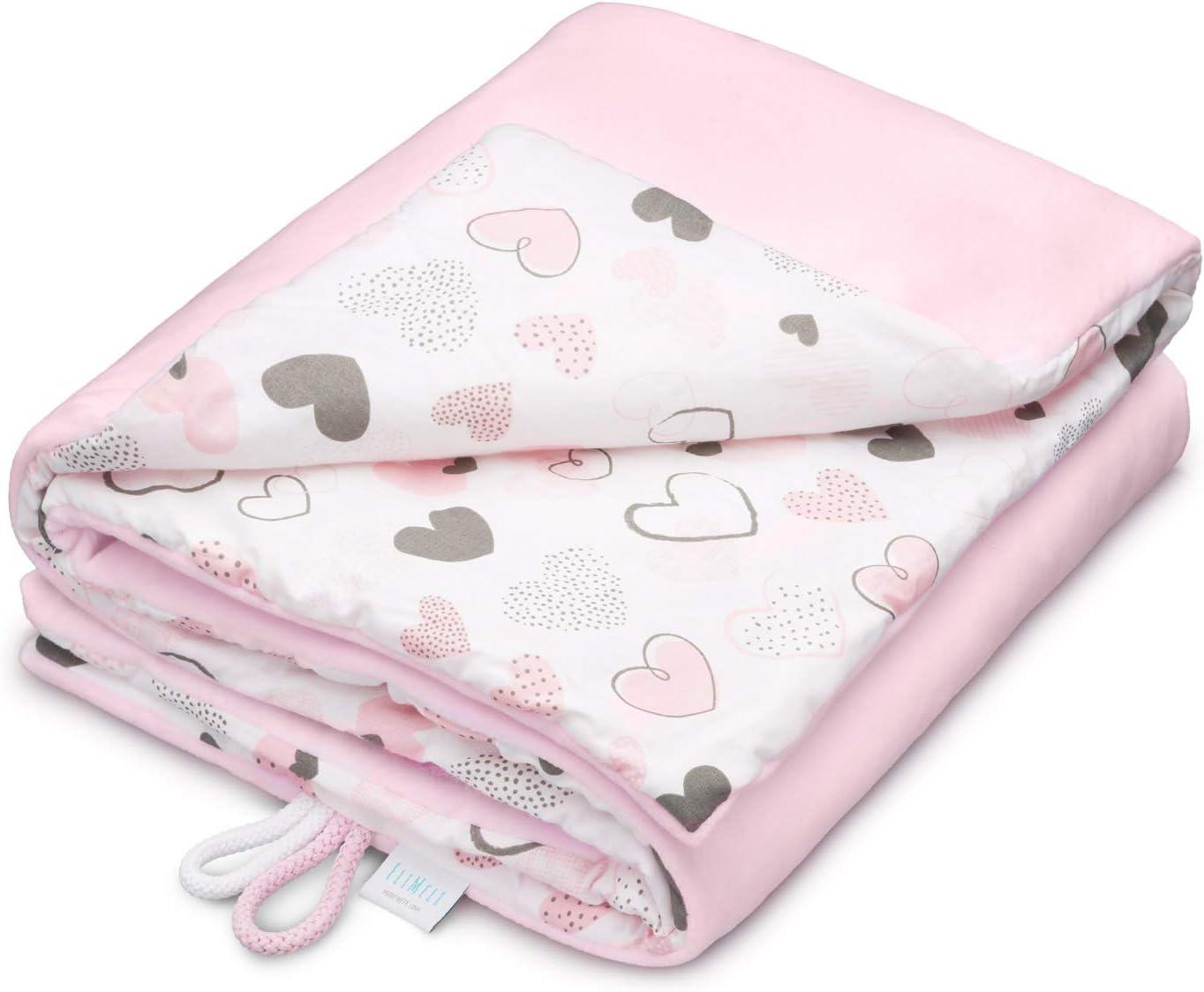 Manta para bebé EliMeli, 75 x 100 cm, forro polar muy suave, 100% algodón, relleno supercristalino, de alta calidad, perfecta para bebés rosa Light Pink - Hearts