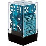 Chessex CHX 23615 Translucent 16mm d6 Teal/White (12)